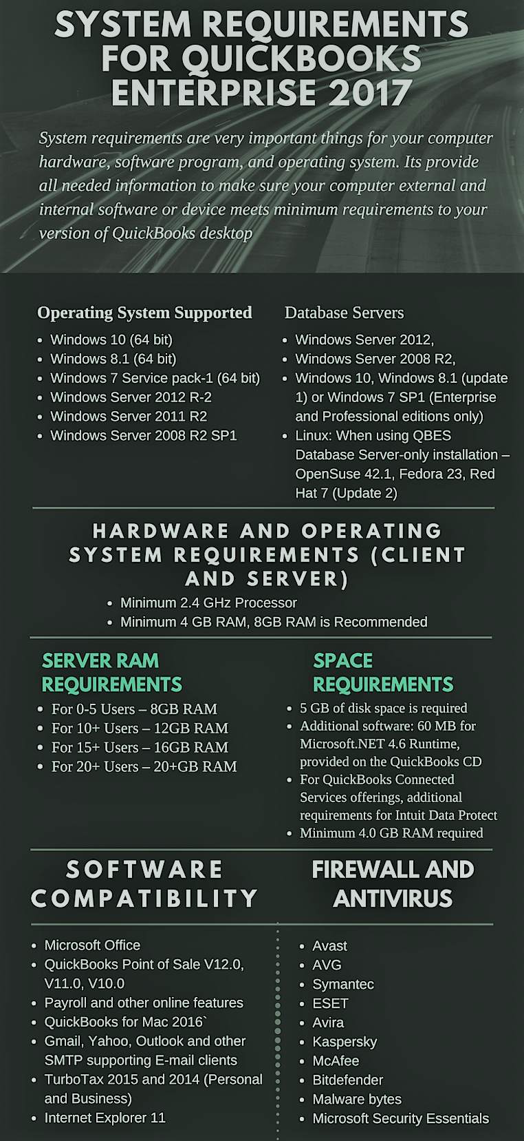 System Requirements for QuickBooks Enterprise 2017: Instant